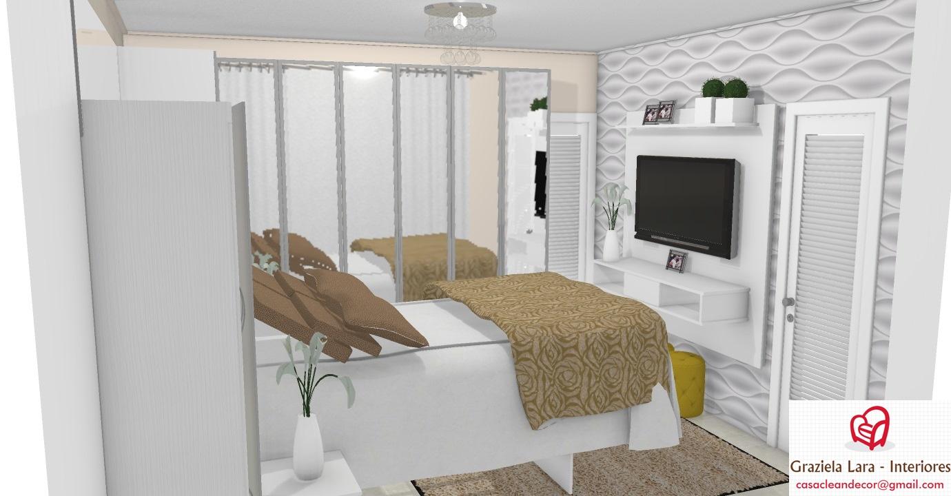 Construindo Minha Casa Clean Quarto De Casal Pequeno Com Arm Rio  ~ Decoração De Quarto De Casal Pequeno Com Papel De Parede
