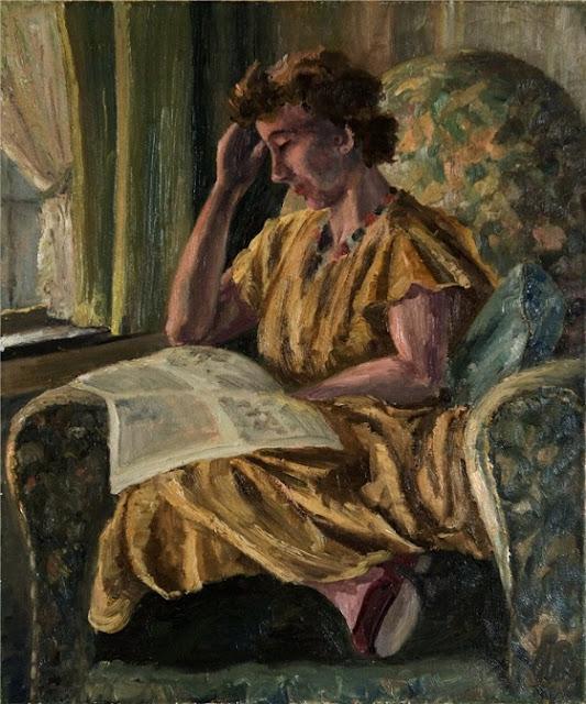 Leo Gestel Интерьер с читающей молодой женщиной