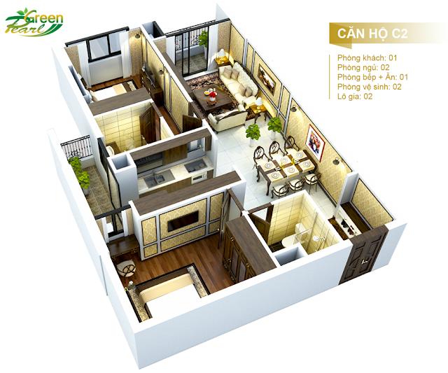 Mặt bằng căn hộ C2 chung cư Green Pearl Minh Khai
