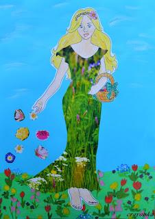 pani wiosna na kwiecistej łące