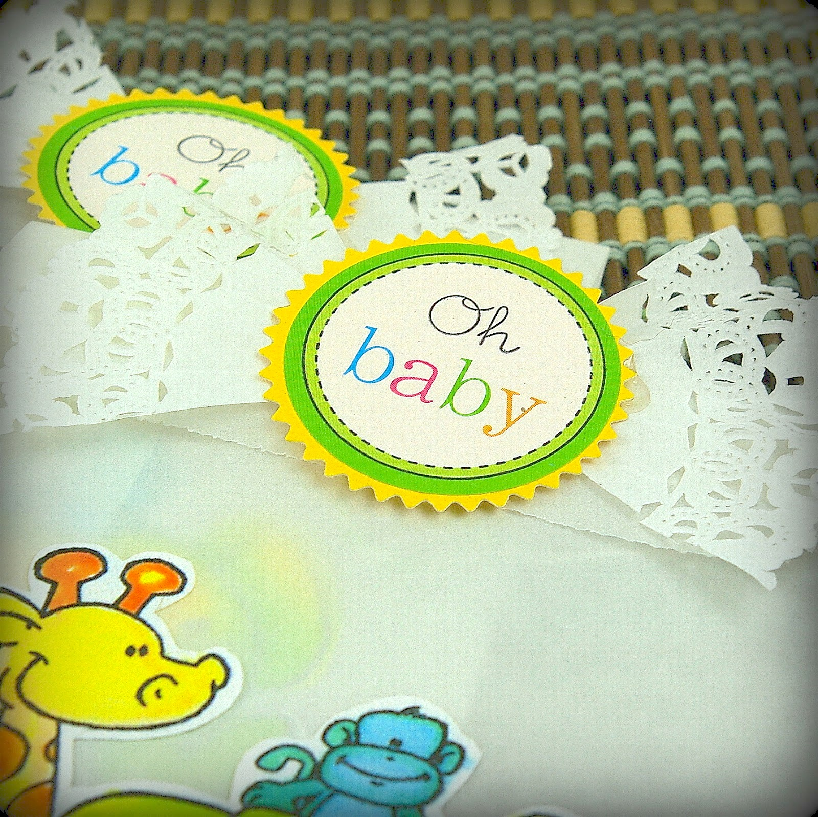 SRM Stickers Blog - DIY Baby Shower by Michelle- #baby #shower  #DIY #kit #glassine #bag #doily #twine #stickers