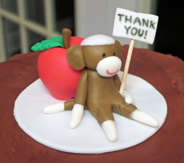 Sock Monkey Teacher Appreciation Cake - Close Up of Fondant Sock Monkey & Apple Topper 1