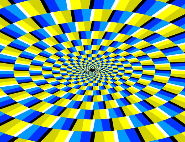 Anafor gibi dönen sarı ve mavi renkli bir spiral şekilden oluşan bir göz yanılması