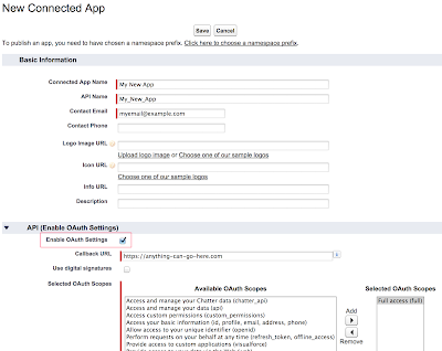 Enabling the OAuth Settings