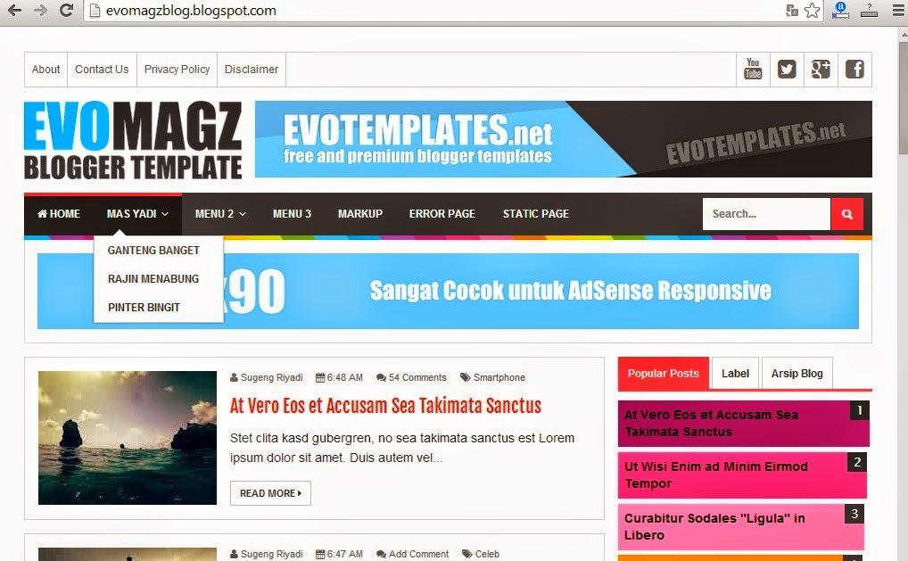Cara Membuat Menu Navigasi di Blog seperti Evo Magz