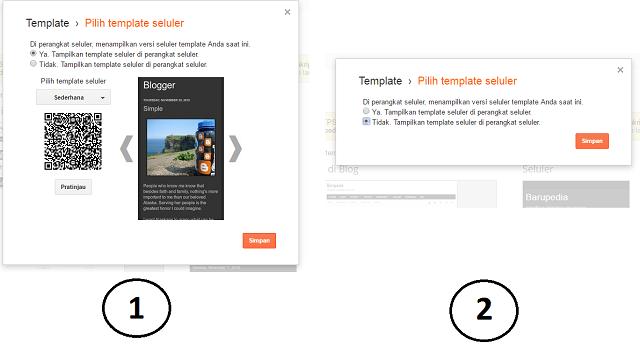 pengaturan template di perangkat seluler