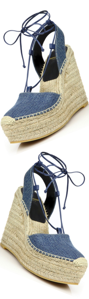 Saint Laurent Denim Espadrille Wedge Sandals