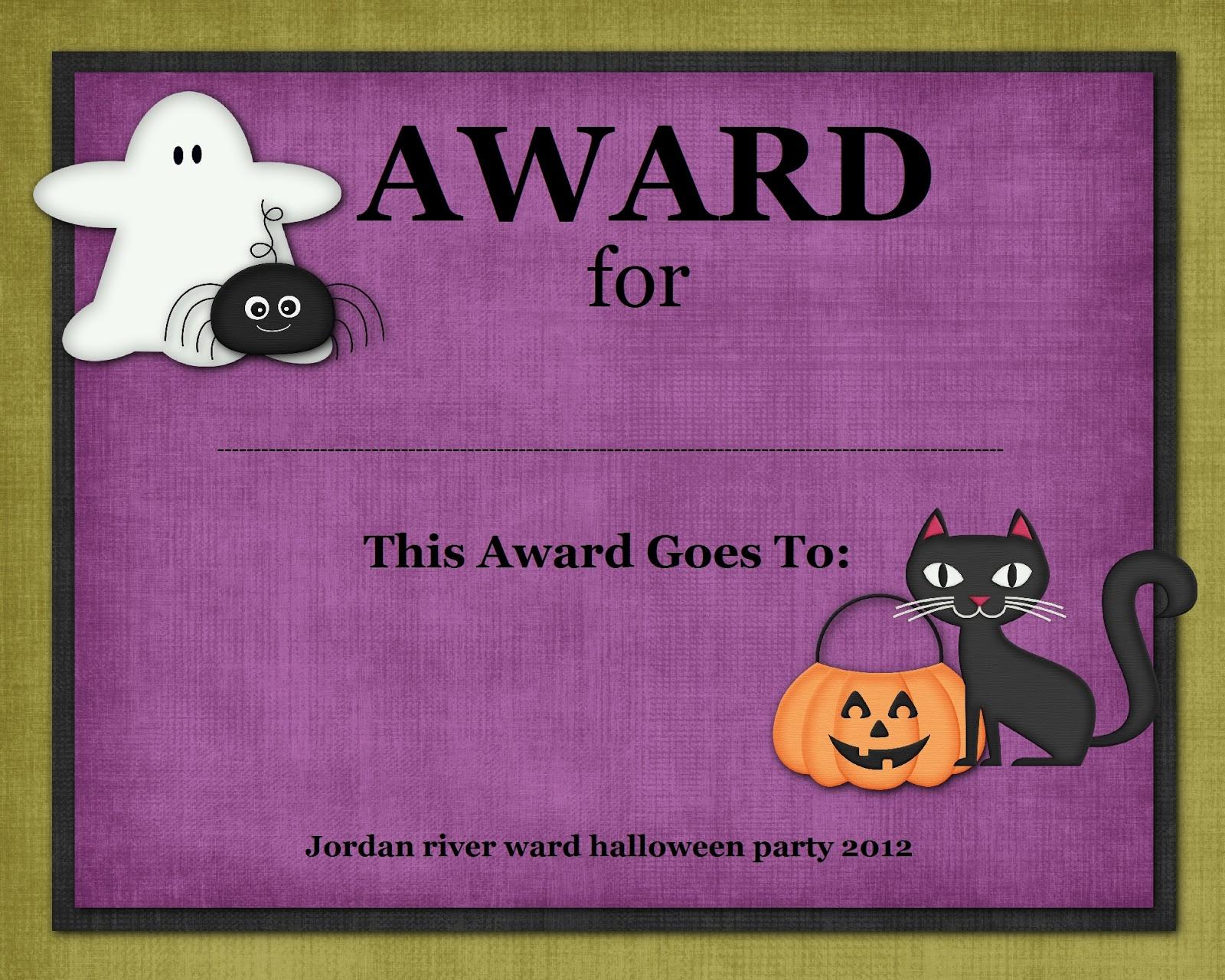Halloween Costume Contest Awards Printable Hallowen