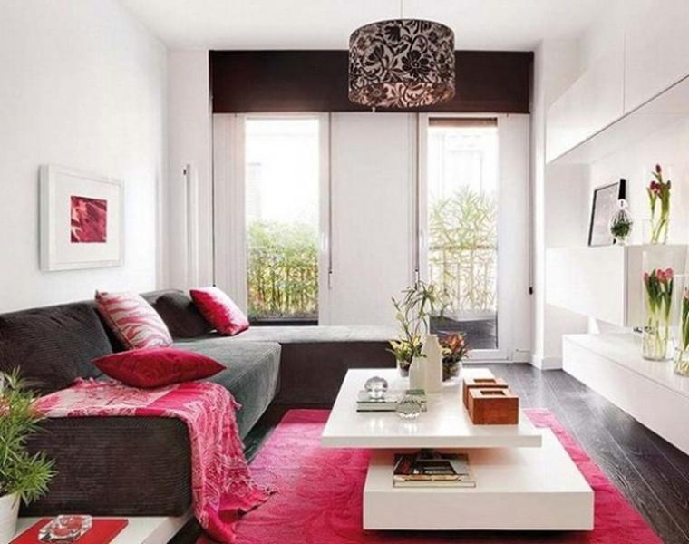Ruang Tamu Modern Dengan Perpaduan Hitam Putih Dan Pink Wajib Baca