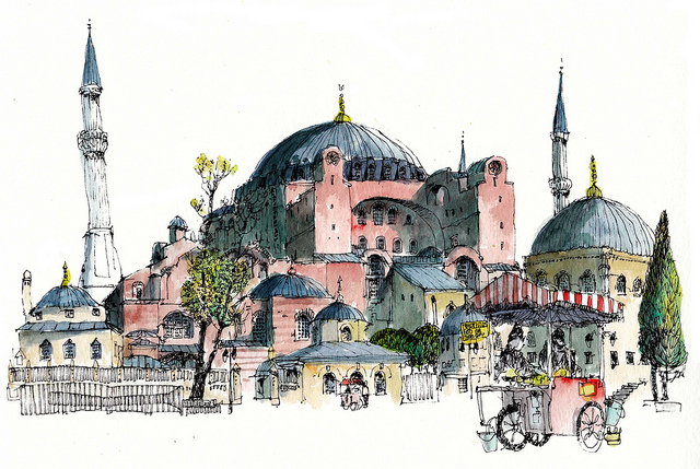 19-Turkey-Istanbul-Hagia-Sophia-Chris-Lee-Charming-Architectural-wobbly-Drawings-and-Paintings-www-designstack-co