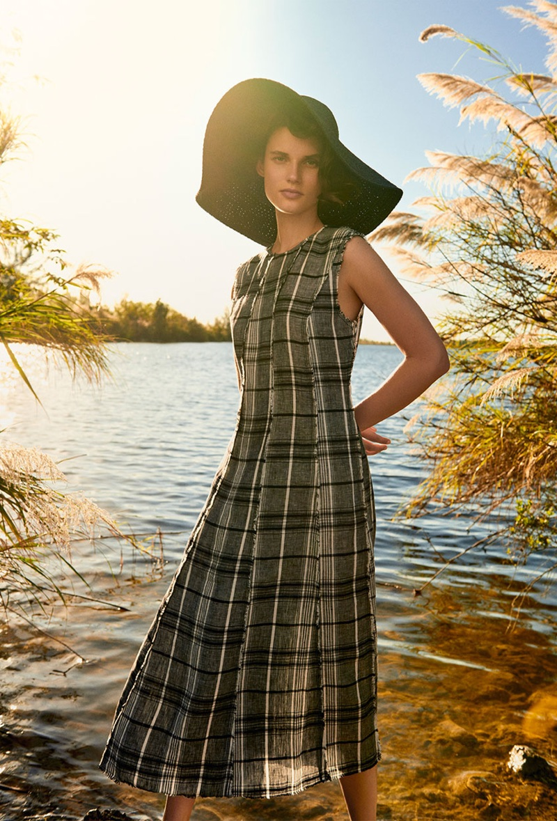 Zara Checked Linen Dress and Wide-Brim Sun Hat