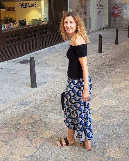 Falda larga estampada