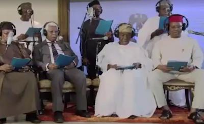 Yemi Osinbajo, Obasanjo, Gowon, past leaders form choir, sing hymn