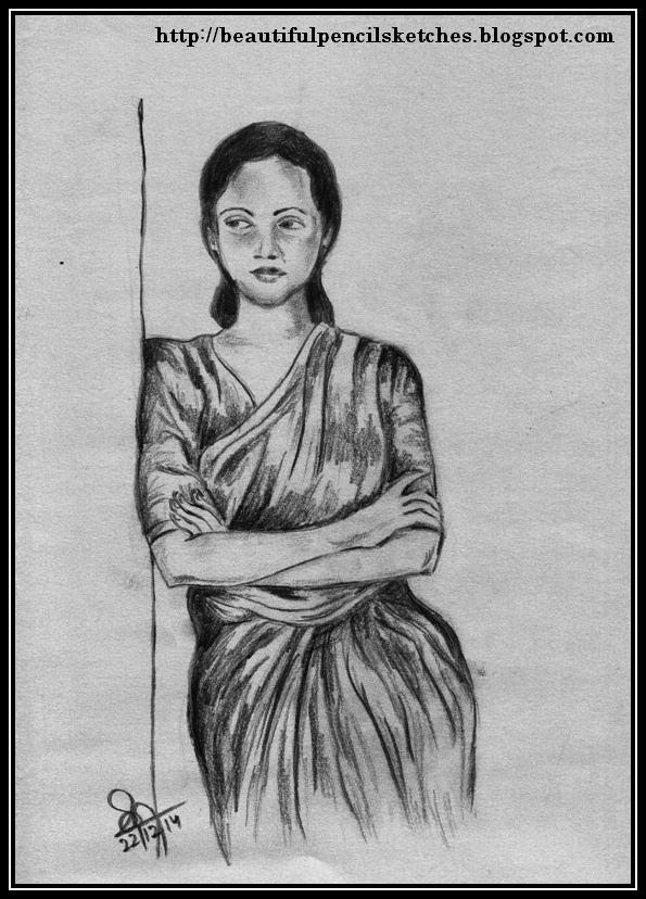 I used charcoal pencil and eraser for sketching the girl in saree