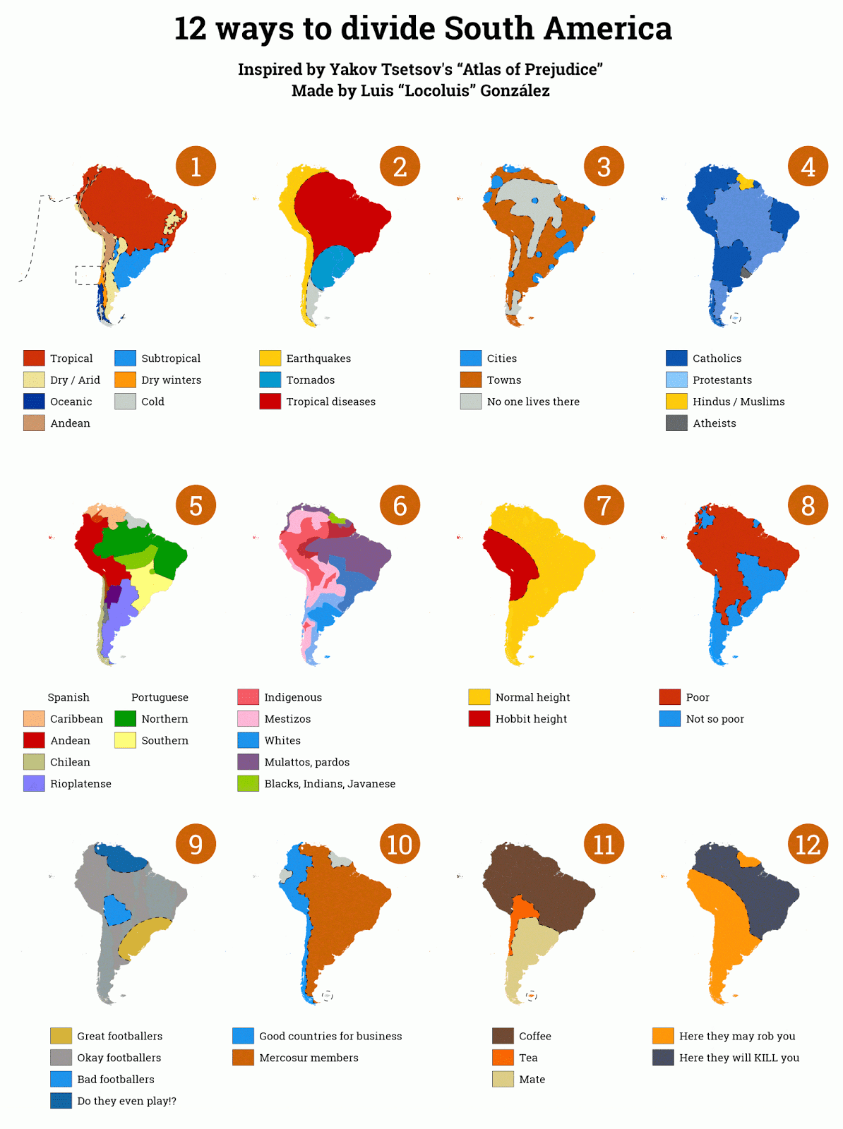 12 ways to divide South America