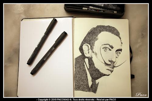 vue générale sur le dessins de Salvador Dali en pointillisme