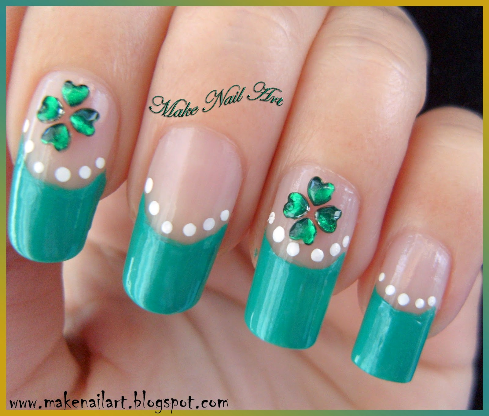 Make Nail Art: St. Patrick\'s Day Four Leaf Clover Nail Art Tutorial