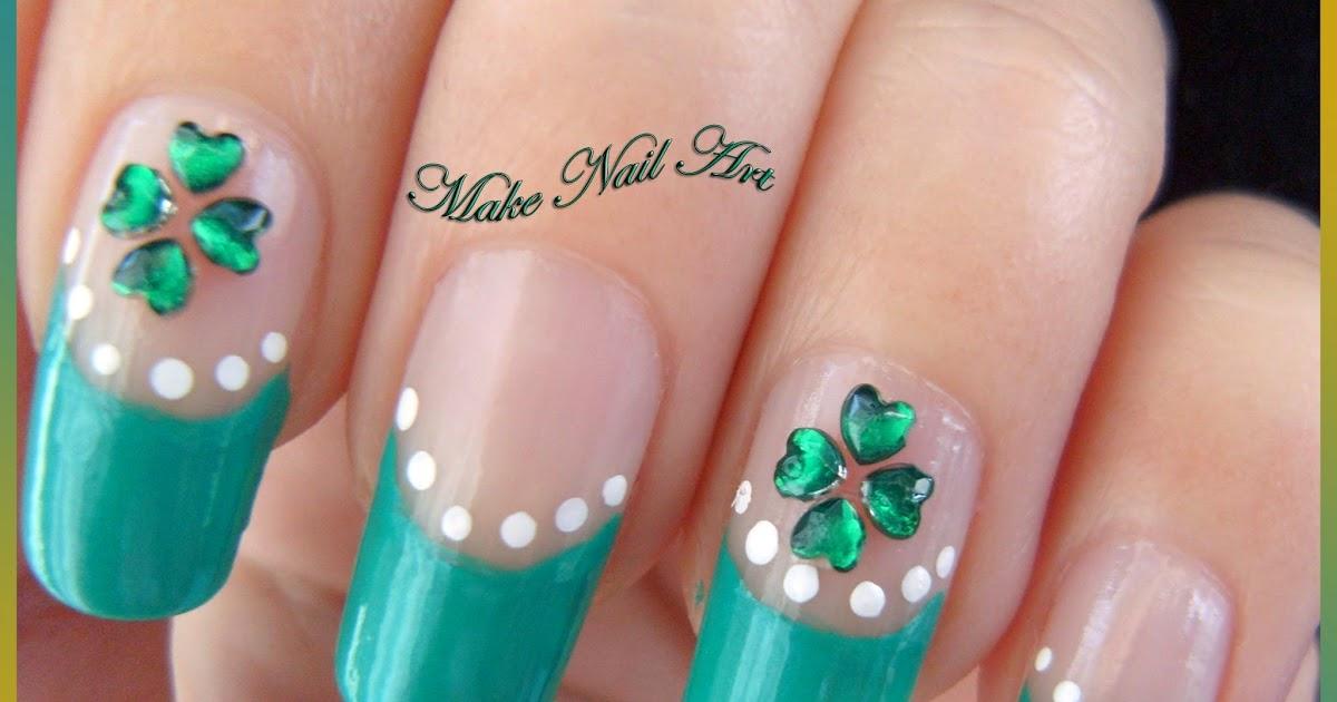 Make Nail Art: St. Patrick's Day Four Leaf Clover Nail Art