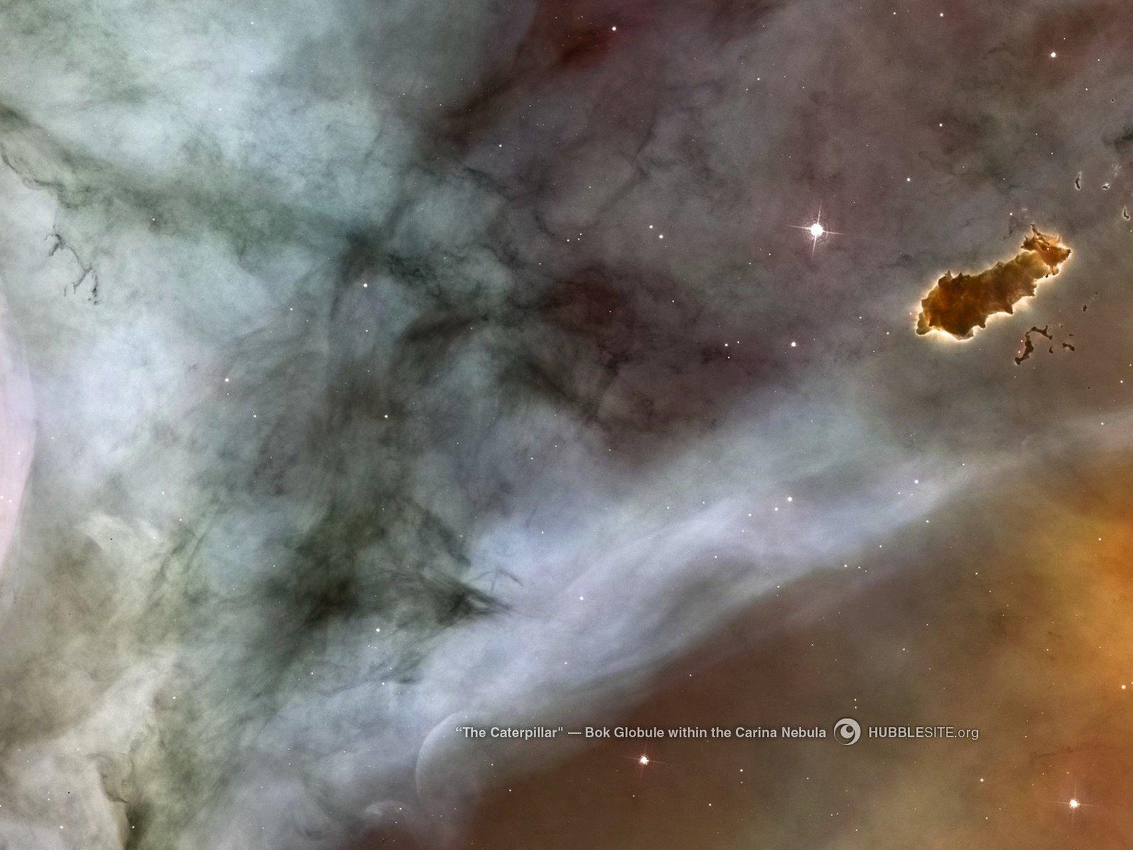 Immagine Hubble.org con un esempio di un ovulo di Bok che si trova dentro la ella nebulosa Carena, soprannominato - bruco - per il suo aspetto