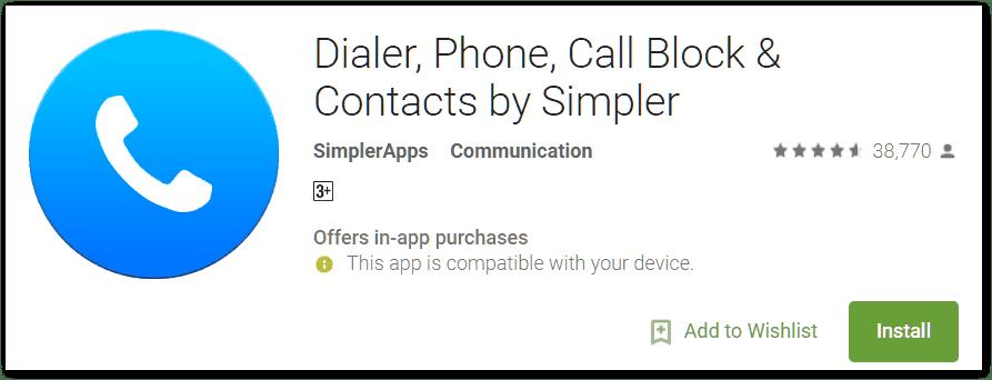 Dialer app for smartphone