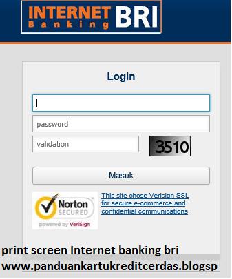 Capture Screen Internet Banking Bank BRI