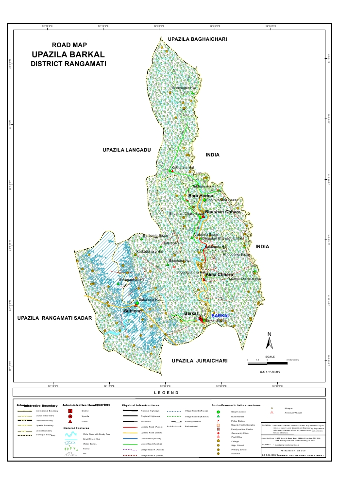 Barkal Upazila Road Map Rangamati District Bangladesh