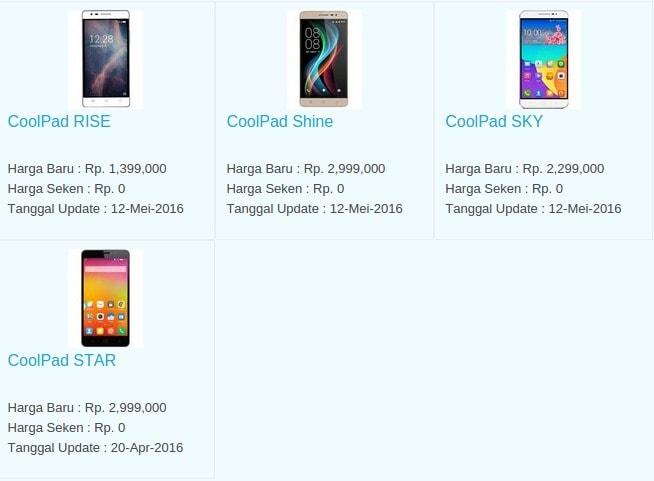 Daftar Harga Hp Terbaru Coolpad Juni 2016