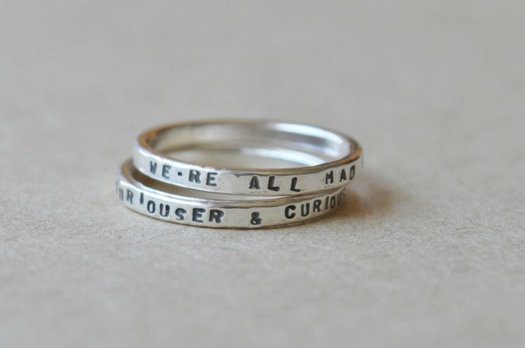 Two Silver Rings with Stamped Quotes from Alice in Wonderland by The Silver Shed