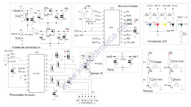 Controlador digital de audio con TDA7309 y PIC16F88.