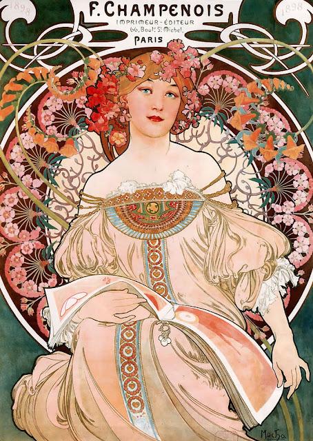 art nouveau papel tapiz, lamparas, muebles y obras de arte