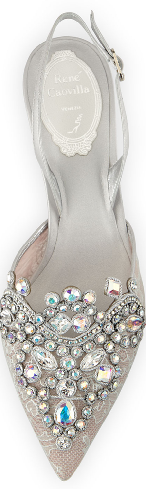 Rene Caovilla Jeweled Lace Halter Pump
