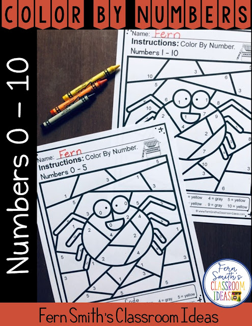 Halloween Color By Numbers for Numbers 0-10  Your students will adore this Halloween Spider Color By Numbers worksheets while learning and reviewing important 0 - 5 AND 0 - 10 numbers skills at the same time! You will love the no prep, print and go ease of these two printables. As always, answer keys are included.  #FernSmithsClassroomIdeas