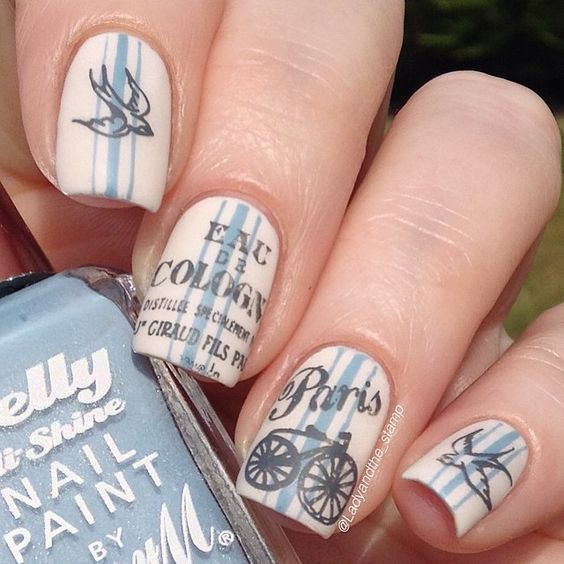 beautiful bicycle nail art