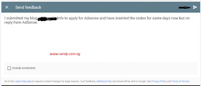 Fill in the feedback form Adsense