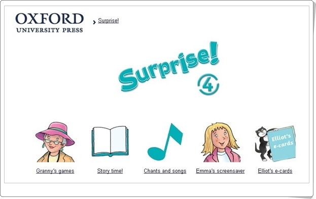 Surprise! Inglés de 4º Nivel de Educación Primaria. Editorial Oxford.