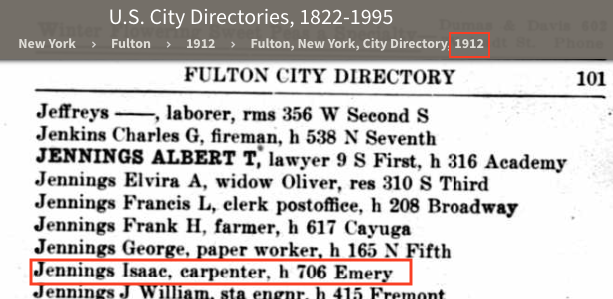 snippet of the Fulton NY city directory, 1912, showing Isaac S. Jennings, carpenter, at 706 Emery Street, Fulton, New York
