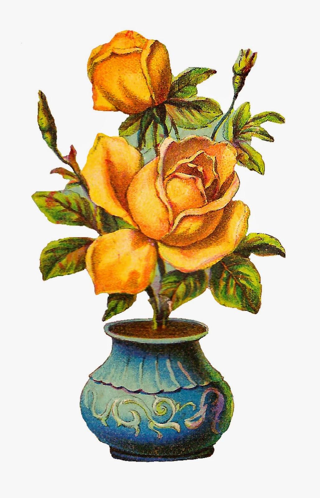 Antique Images Vintage Botanical Yellow Rose Digital Download With