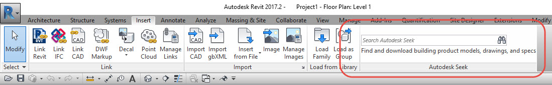 Revit OpEd: Revit 2018 - Insert Ribbon Search Field is Removed