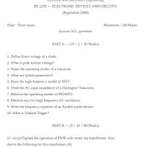 EC6202 Electronic Devices and Circuits All Previous Years Question