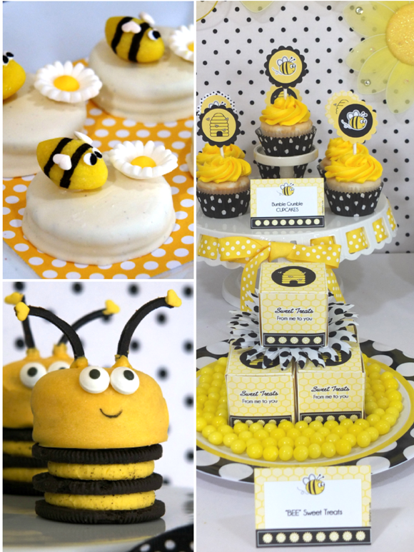 Honey Bee Birthday Party Desserts Table   Via BirdsParty.com