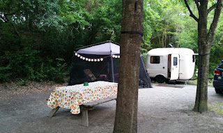 Uhaul CT-13 Fiberglass Camper at campsite at Myrtle Beach State Park in South Carolina