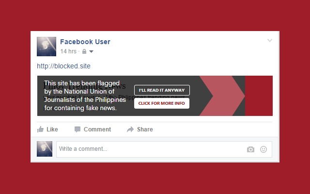 Fakeblok Chrome Extension Flag Fake News on Facebook.