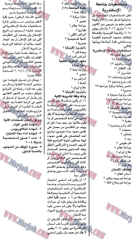 اعلان وظائف مستشفيات جامعة الاسكندرية ومعهد البحوث الطبية تطلب 324 وظيفة للمؤهلات العليا