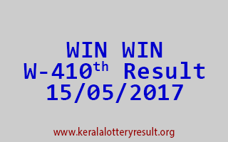 WIN WIN Lottery W 410 Results 15-5-2017