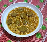 Garbanzos con Chorizo Vegano.