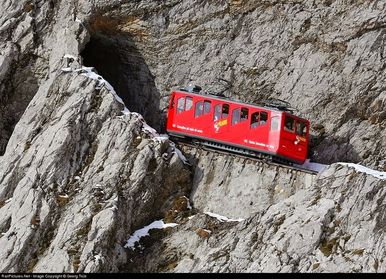 The World S Steepest Cogwheel Railway At Mount Pilatus