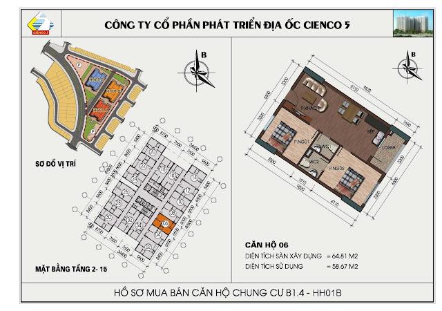sơ đồ căn hộ chung cư B1.4 căn 06 tòa HH01B