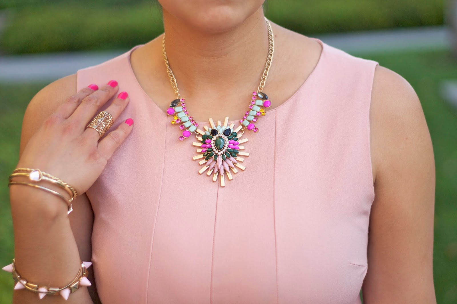 Pastel and Gold Accessories, Charlotte Russe gold bangles, TanyaKara Jewelry ring, Shop Prima Donna statement necklace