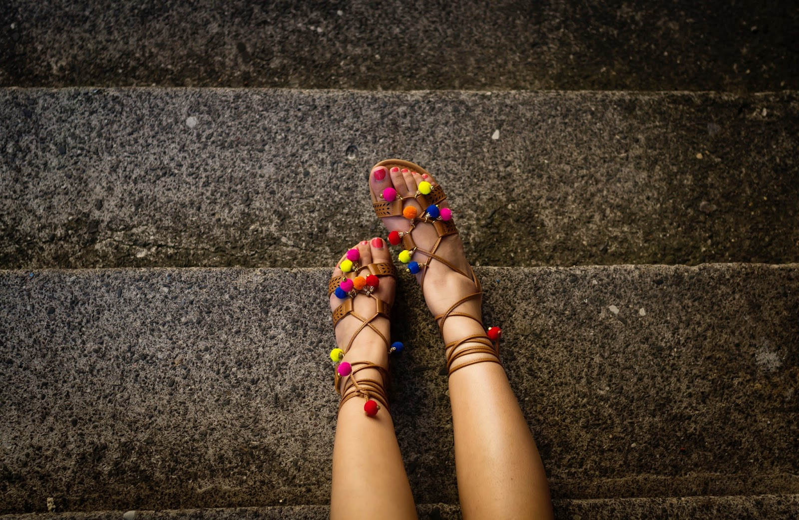 Dolce and Gabbana inspired pom pom sandals