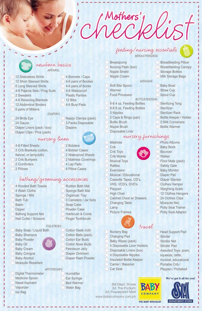 Urban Mom S Diary Mother S Checklist